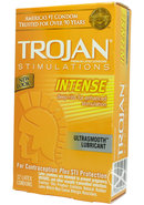 Trojan Condom Stimulations Intense Ribbed Lubricated 12 Pack