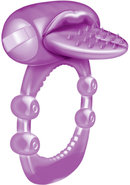 Nubbie Tongue Vibrating Silicone Cock Ring Waterproof Purple