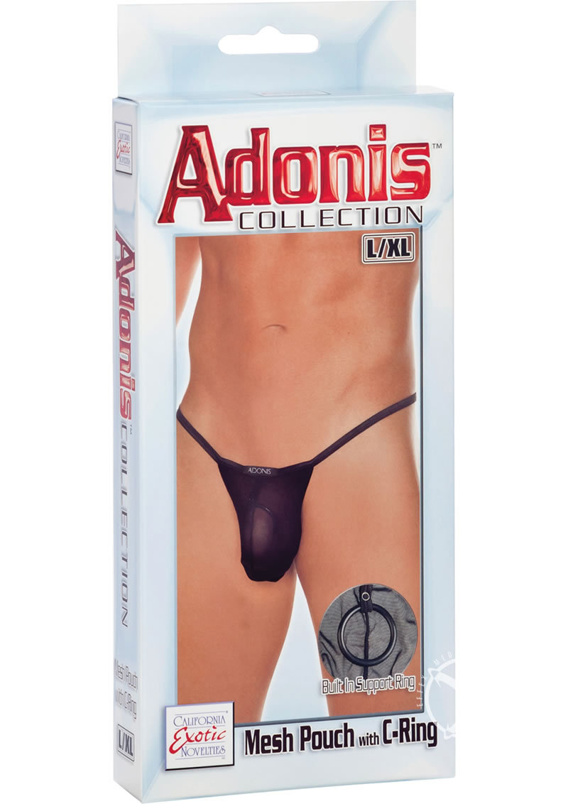 Adonis Mesh Pouch With C-ring Black Large/xtra Large