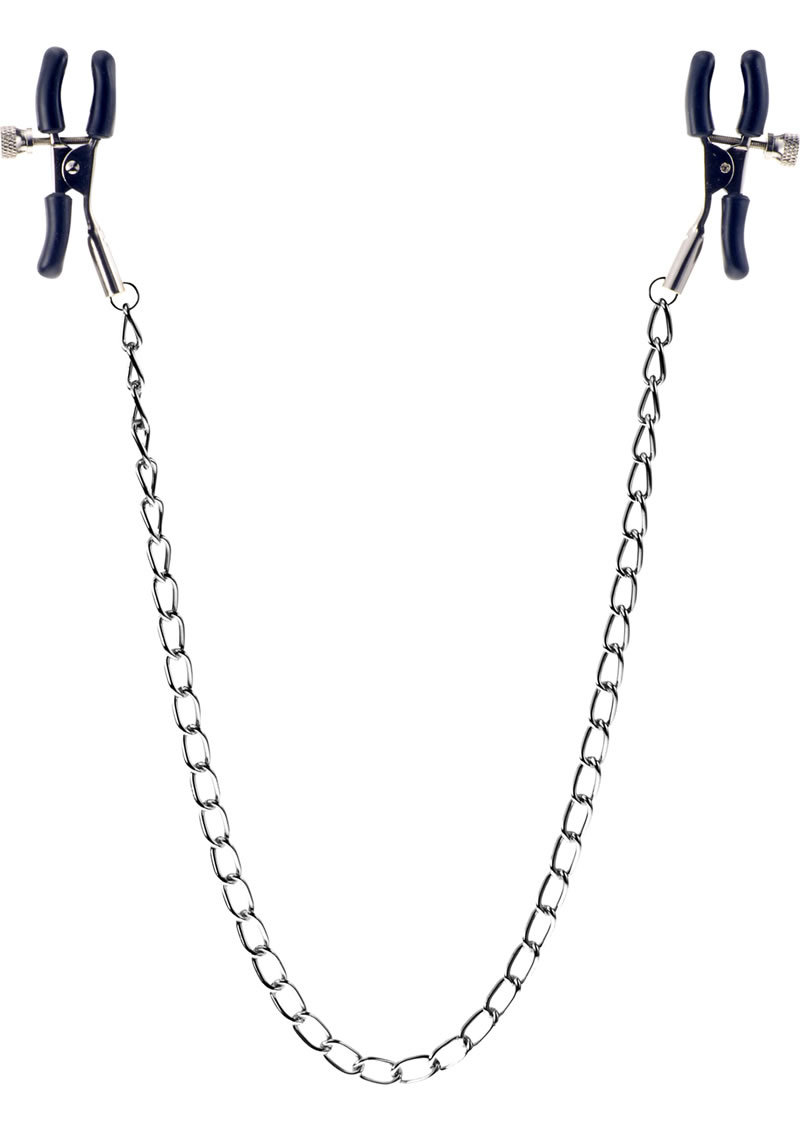 Kinx Squeeze And Please Adjustable Nipple Clamps With Chain Silver